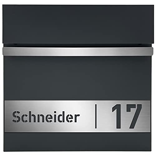 AlbersDesign - Personalisierter Design-Briefkasten individuell mit Ihrem Namen/in anthrazit (RAL7016) / mit Edelstahl-Schild