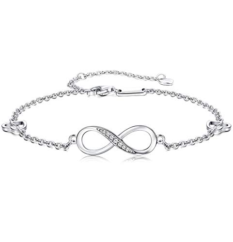 Finrezio 925 Sterling Silver Infinity Anklet Bracelet for Women Girls Adjustable Foot Jewelry 4-Level Adjustable Length Gift for Mother's Day