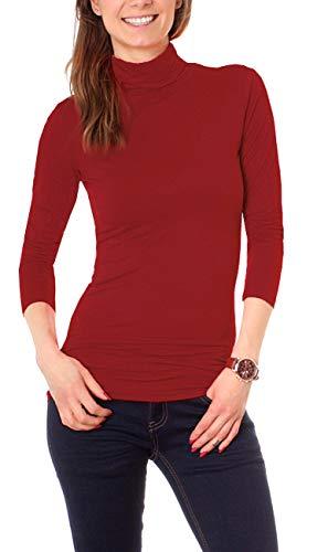 Easy Young Fashion Basic Damen Rollkragen Jersey Shirt Unterzieher Longsleeve Enganliegend Langarm Einfarbig One Size Dunkelrot