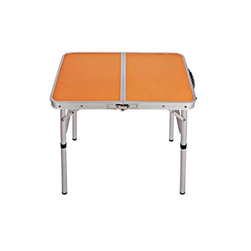 Mesa Portátil Ordenador Ajustable con Ruedas Mesa para Acampada De Aluminio Plegable Portátil como Si Fuera Un Maletín Altura Regulable para Pícnic Camping 60x45x58.5cm - Naranja