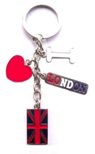 Ich liebe London llavero: Yo, Amor, Corazón, London & unión jack llavero–Corazón de forma de kery Anillo–Ich liebe London Keychain–de Londres Souvenir de llavero
