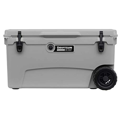 Driftsun 70 Quart Wheeled Ice Chest, Heavy Duty, High Performance Commercial Grade Insulated Rolling Cooler, Grey