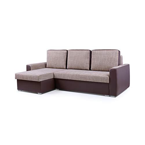 Canapé d'angle Marron Tissu Design Confort
