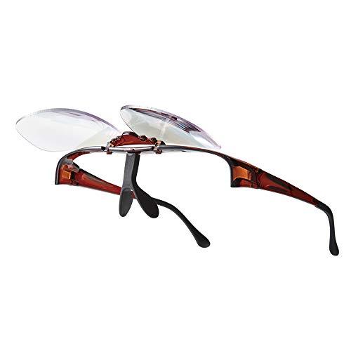 超軽量・拡大鏡メガネ型ルーペ(ワンタッチ跳ね上げ式レンズタイプ)1.6倍 ブルーライトカット機能採用 メガネの上から掛けられる 男女兼用 (ブラウンBROWN)