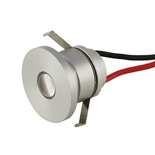 VBLED® LED Aluminium Mini Einbaustrahler IP44 wassergeschützt - 1W 350mA 80lm warmweiß (3000 K) (Einbauleuchte einzeln)