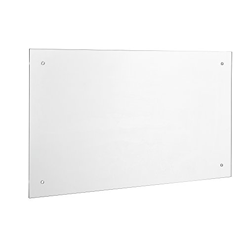 [neu.haus] Panel de cristal para pared cocina protección contra salpicaduras (90x50cm) - vidrio transparente - material de montaje incluido