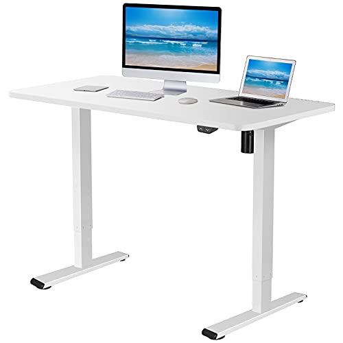 stand tables Flexispot EC1 Electric White Standing Desk Adjustable Height Desk, 48 x 30 Inches Whole Piece Board Sit Stand Desk Home Office Workstation Stand up Desk (White Frame + 48 in White Top)