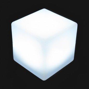 Cube lumineux avec lumière LED 40 cm, changement de couleur, sans câbles.