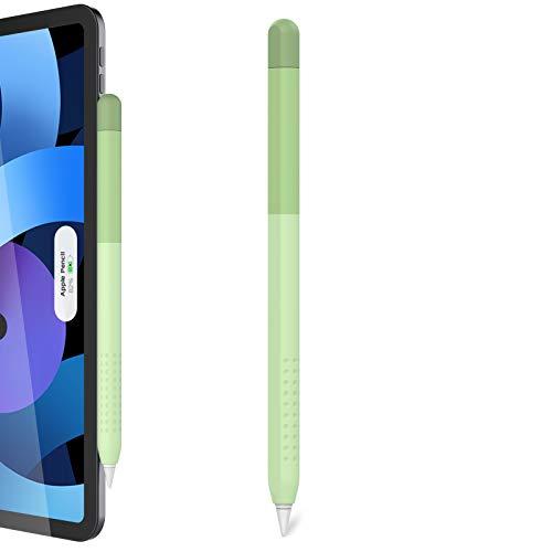 Delidigi Farbverlauf Farbhülle Case Griff Silikon Schutzhülle Zubehör Kompatibel mit Apple Pencil 2. Generation (Grün)