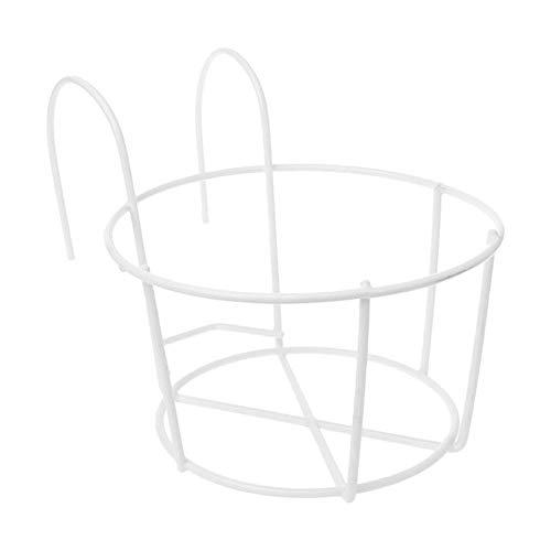 FZAY Hänge-Pflanzengestell aus Eisen, für Balkon, Zäune, Mauergeländer, weiß, M