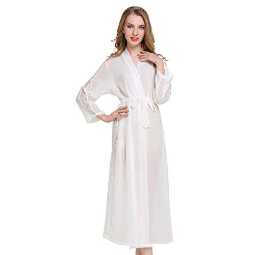 Casa Mujer Vestido Kimono Satén Largo, Kimono Bata de Satén Kimono Del Cordón Robe Albornoz con escote de seda Ropa de dormir Dama de honor de la novia