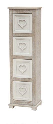 Legno&Design Commode Meuble 4 tiroirs cœur Meubles Maison en Bois Shabby Chic