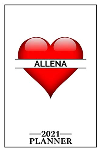 Allena: 2021 Handy Planner - Red Heart - I Love - Personalized...