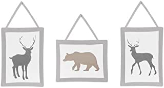 Sweet Jojo Designs Blue Grey and White Woodland Animals Collection Deer and Bear Wall Hanging Accessories