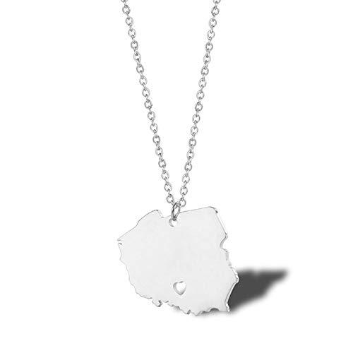 ANAZOZ Anhänger Frau Allergie Halskette Damen Polen Karte Edelstahl Halskette mit Anhänger Silber Damenketten