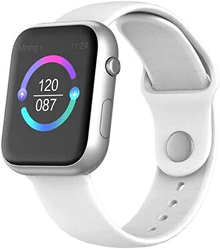 Reloj inteligente pulsera reloj hombres mujeres ritmo cardíaco fitness deportes impermeable BT reloj sueño monitor aeróbico ejercicio fitness relojes para mujeres y hombres correa blanca plateada