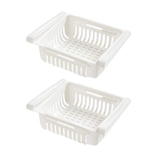 GAKIN Organizador retráctil para cajones de refrigerador, capa de separación duradera, 2 unidades, color blanco
