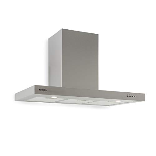 Klarstein Zarah 90 Campana extractora - Campana de pared, Ancho: 90 cm, Salida: 600 m³/h, 55-72 dB, LED, Acero inoxidable, Convertible, Plateado
