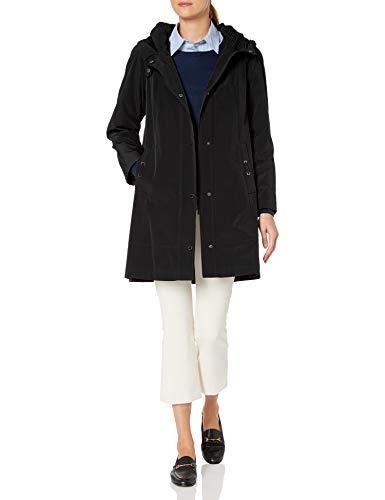 Gallery Women's Micro Pleated Hooded Collar 3/4 rain Coat, Detachable Liner, Black, Small