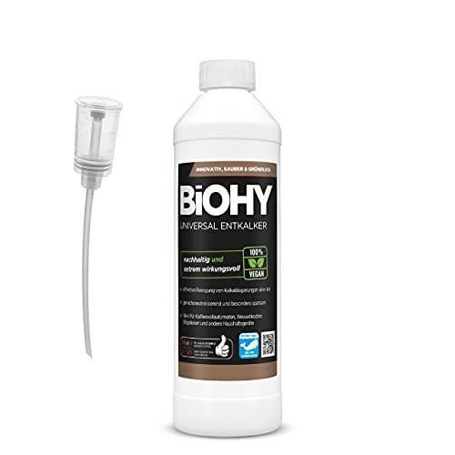 BiOHY Descalcificador universal (botella de 500 ml) + dosificador, concentrado para 20 procesos de descalcificación por botella, compatible con todas las cafeteras automáticas y de espresso