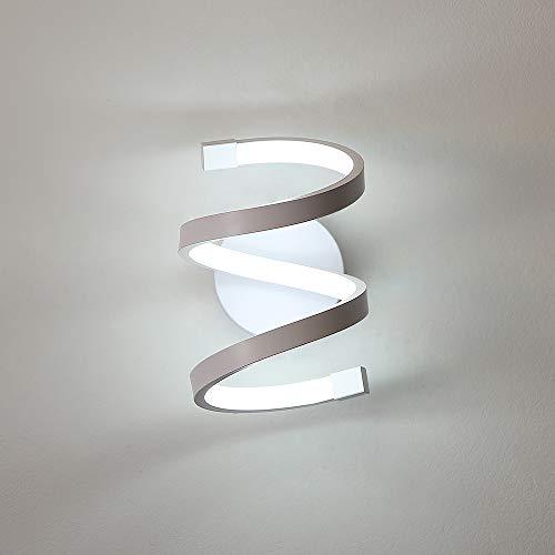 Goeco Lampada da Parete LED interno, Applique da Parete acrilico 18W, Lampada Muro Applique spirale per Soggiorno Camera da letto Tromba delle scale, luce bianca fredda