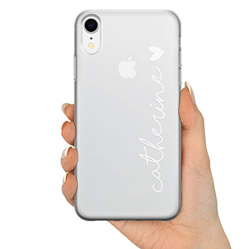 TULLUN Personalisierte Handyhülle für iPhone 6 / 6s - Klare Soft Gel BenutzerdefinierteBrauch Name & Heart Text Buchstabe Initialen Name Text - Weißer Name & Herz