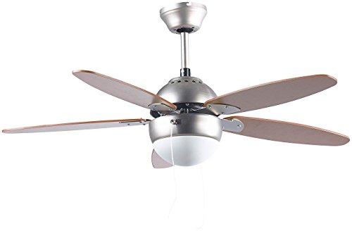Sichler Haushaltsgeräte Lampe mit Ventilator: Deckenventilator VT-597 m. Holzflügeln, Beleuchtung, Fernbed, Ø 92 cm (Deckenventilator mit Licht)