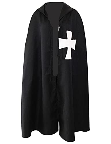 Traje de cosplay de cruzados medievales para Halloween, Navidad, fiesta, traje de caballero vintage, color negro