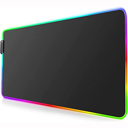 HDHUIXS Gaming Mouse Pad Mat - LED Mouse Pad con Bordes cosidos duraderos y Base de Goma Antideslizantes, Almohadilla de ratón de Alto Rendimiento optimizada para Jugador, (31.5x11.8 en)