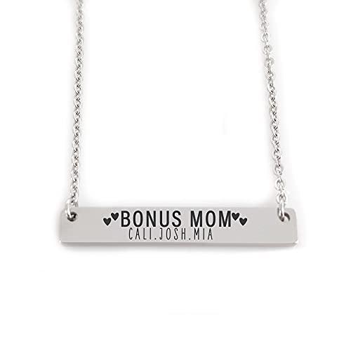 Stepmom Gift Step Mom Necklace Bonus Mom Gift Bonus Mom Necklace Personalized Gift for Stepmom Gift Mother's Day Gift Idea for Stepmom ERIKA-BONUS-BAR