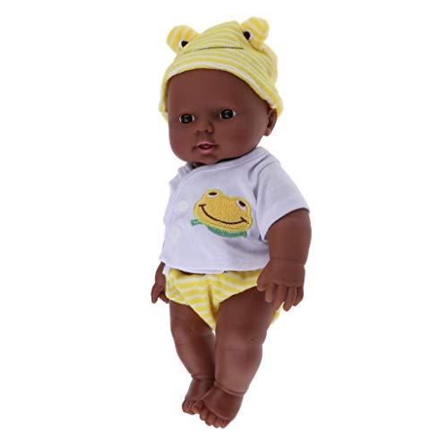P Prettyia 30cm Dunkelhäutige Weichkörperpuppe Weichkörper Babypuppe Junge in Kleidung Puppen