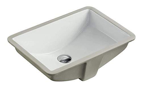 KINGSMAN 20.9 Inch Durable Rectrangle Undermount Vitreous Ceramic Lavatory Vanity Bathroom Sink - Pure White (20.9 Inch)