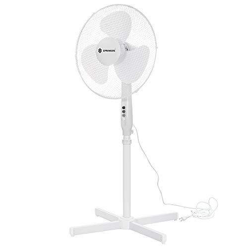 Standventilator, Lüfter Ø 45 cm, mit Oszillation, Luftkühler, Standlüfter Ventilator schwarz weiß Windmaschine Büro & Haus (Weiß)