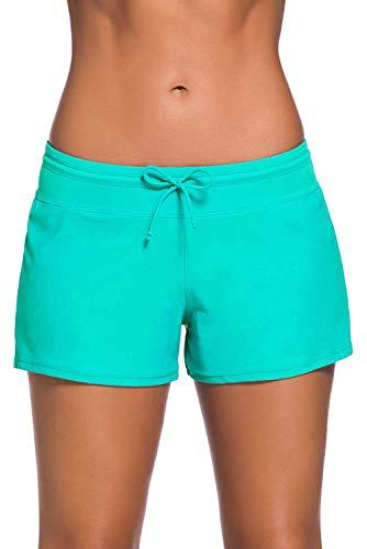 ZDQ – Bañador corto para mujer con pantalón interior y cintura elástica, secado rápido, talla 34 – 56 verde 34W x 36L