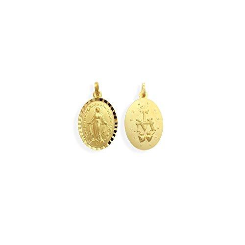 Echt 14 Karat Gold 585 Wundertätige Madonna Immaculata Milagrosa Medaille (213015)