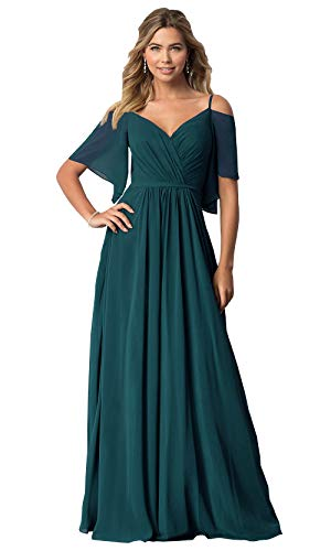 KKarine Women's Cold Shoulder Ruffled Prom Bridesmaid Dress Long Evening Gown 2 Peacock