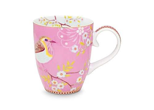 Pip Studio Floral Early Bird Taza, Porcelana, Rosa, 350 ml
