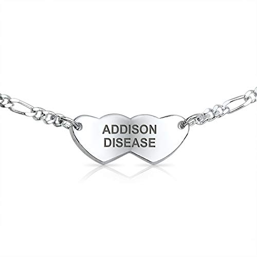 Addison disease delicate Thin Heart Medical Identification Id Bracelet for Women Sterling Silver Custom en grabado