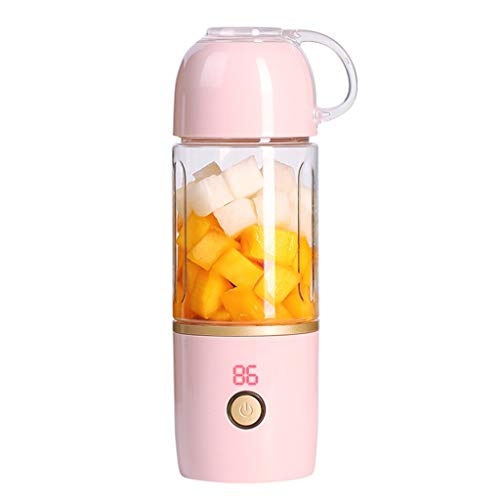 Portable USB Juicer Cup,Jchen Portable Blender Electric USB Juicer Cup, Fruit, Smoothie, Baby Food Mixing Machine with 3600mAh Rechargeable Battery - 400ML Water Bottle Best Gifts for Birthday (Pink)