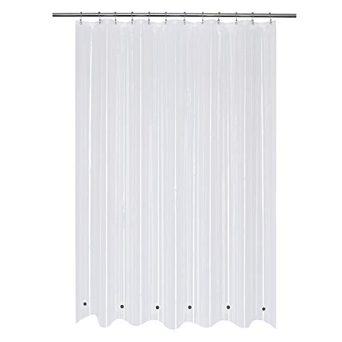 Mrs Awesome Extra Long Shower Curtain Liner with 6 Magnets 72 x 84 inch, Clear PEVA 8G Heavy Duty Thick Plastic Shower Curtain, Waterproof, Non-Toxic and Odorless, 72x84
