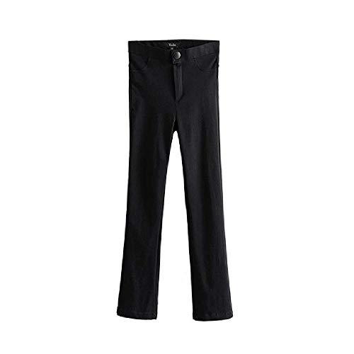 nobrand Frauen Elegante Schwarze Lange Hosen elastischer Reißverschluss fliegen Feste Streetwear lässige Stretchhose in voller Länge