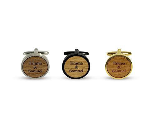 Manschettenknöpfe personalisiert mit Namen aus Holz, Initialien und Datum, Geschenk für Bräutigam, Schwarz mit Holz Nussbaum, Kirschbaum, Eiche