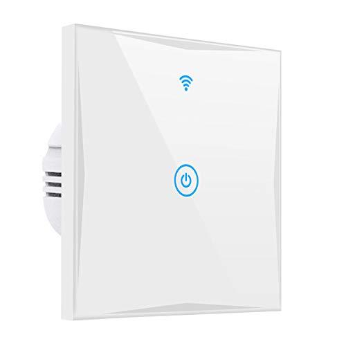 Wifi Smart Lichtschalter, YAPMOR WLAN In-Wall Schalter Kompatibel mit Alexa und Google Home, gehärtetem Glas Touchscreen, Steuern Sie Ihre Geräte von überall, kein Hub benötigt (1-weg)