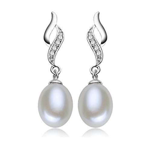 Pendientes Perla Mujer Plata de Ley 925 Cristal de Circonio Pendientes