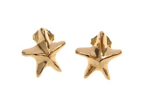 Gold Small Sea Star Shaped Stud Earrings