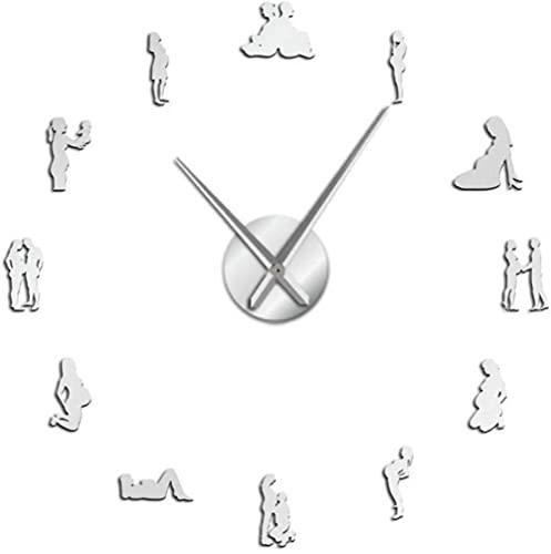 Reloj de pared para embarazo, decoración del hogar, para hacer tú mismo, grande, para mujeres embarazadas, recién nacidas y madres para ser decorativo, regalo de inauguración de la casa, 47 pulgadas