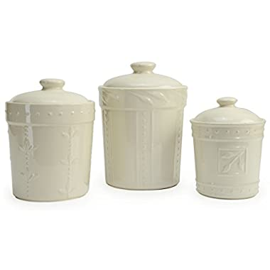 Signature Housewares Sorrento Collection Set of Three Canisters, 80 Ounce, 48 Ounce, 36 Ounce, Ivory