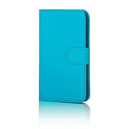 32nd Funda Flip Carcasa de Piel Tipo Billetera para Samsung Galaxy S7 (SM-G930) con Tapa y Cierre Magnético y Tarjetero - Azul Claro