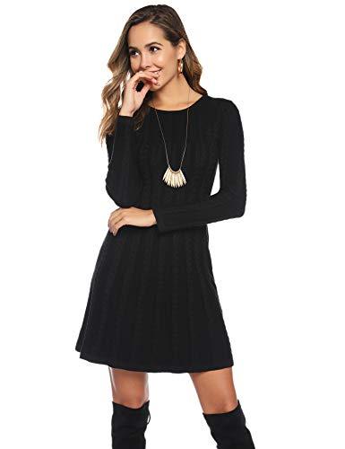 Hawiton Damen Strickkleid Elegante Pulloverkleid mit Zopfmuster A-Linie Langärmeliges Kleid Strickpullover für Winter, Schwarz, M