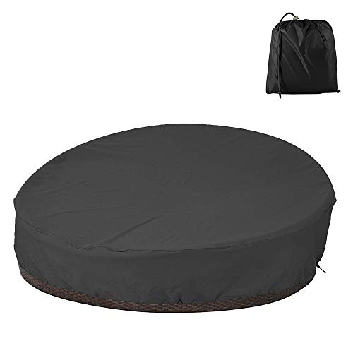 Garden Table Cover Round Patio Daybed Cover Waterproof Oxford Fabric Garden Furniture Cover Outdoor Daybed Sofa Protective Cover 228x83cm (210D)
